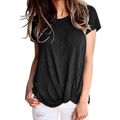 Camisas para Mujeres,Clásico Colores Sólidos Negro Tops Mujer ...