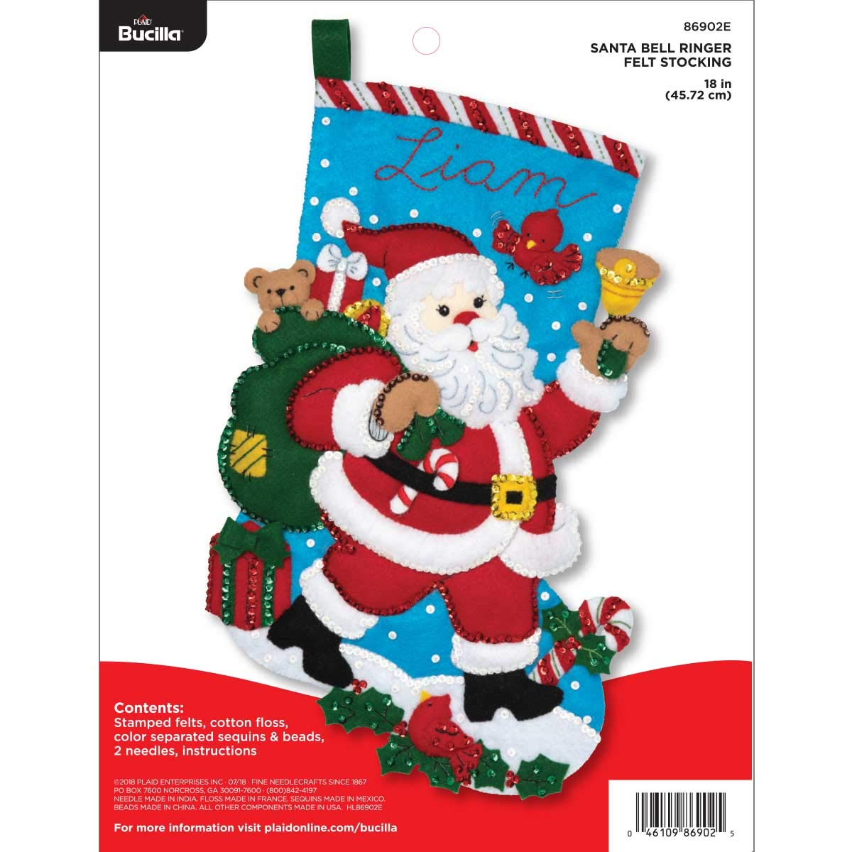 Bucilla 86902E Felt Applique Christmas Stocking Kit, 18'',  Santa Bell Ringer by Bucilla
