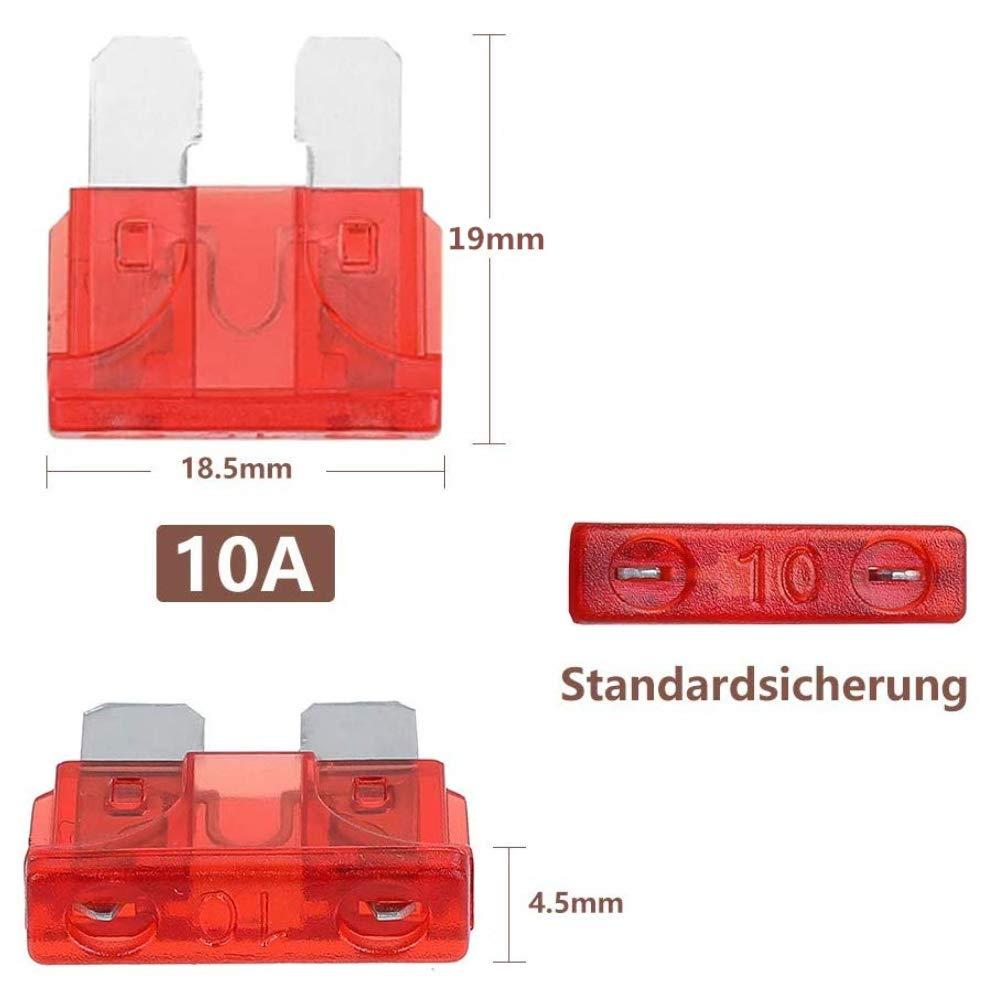 HAKACC KFZ Sicherungen Set, 150 Stück Flachsicherung KFZ Standard Auto Sicherung maßgebend Autosicherungen 2A 3A 5A 7.5A 10A 15A 20A 25A 30A 35A 40A