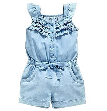 d9dc62149201 Baby Girls Kids Summer Sleeveless Ruffle Denim Overalls Jeans Jumpsuit  Romper (0-1 Years