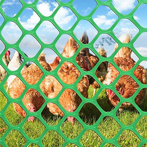 V Protek Poultry Netting High Strength Plastic Poultry Fence For Flower Plants Support,Chicken Net Fence 2/5'' Mesh,3x50ft,Green by V Protek