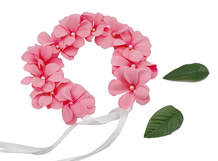 Dreamlily womens hawaiian pink plumeria flower crown hairband for dreamlily womens hawaiian pink plumeria flower crown hairband for beach 2 pink mightylinksfo