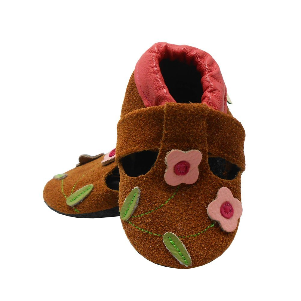 Sayoyo Baby Pink Flowers Soft Sole Leather Infant Toddler Prewalker Shoes