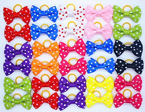 - Yagopet 20pcs/10pairs Small Dog Hair Bows Topknot Classic Polka Dots Small Bowknot with Rubber Bands Pet Grooming Products Mix Colors Pet Hair Bows Dog Hair Accessories