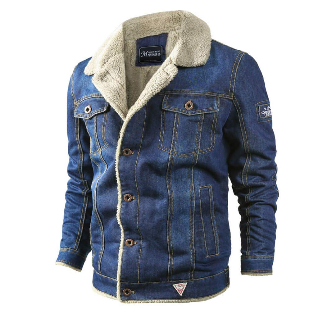 Aiwendish Men's Sherpa Lined Denim Jacket Winter Warm Trucker Jean Coat AI-1806