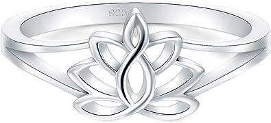 Amazon.com: BORUO Anillo de plata esterlina 925, flor de ...