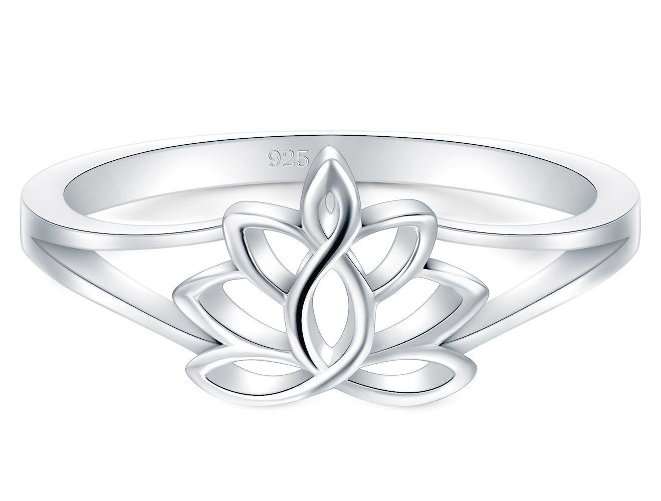 BORUO 925 Sterling Silver Ring Lotus Flower Yoga High Polish Tarnish Resistant Comfort Fit Wedding Band 2mm Ring
