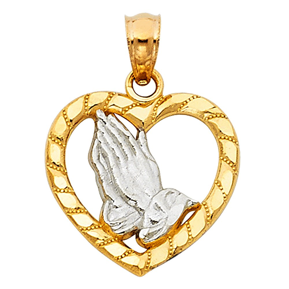 14k White And Yellow Gold Religious Praying Hands in Heart Pendant Charm