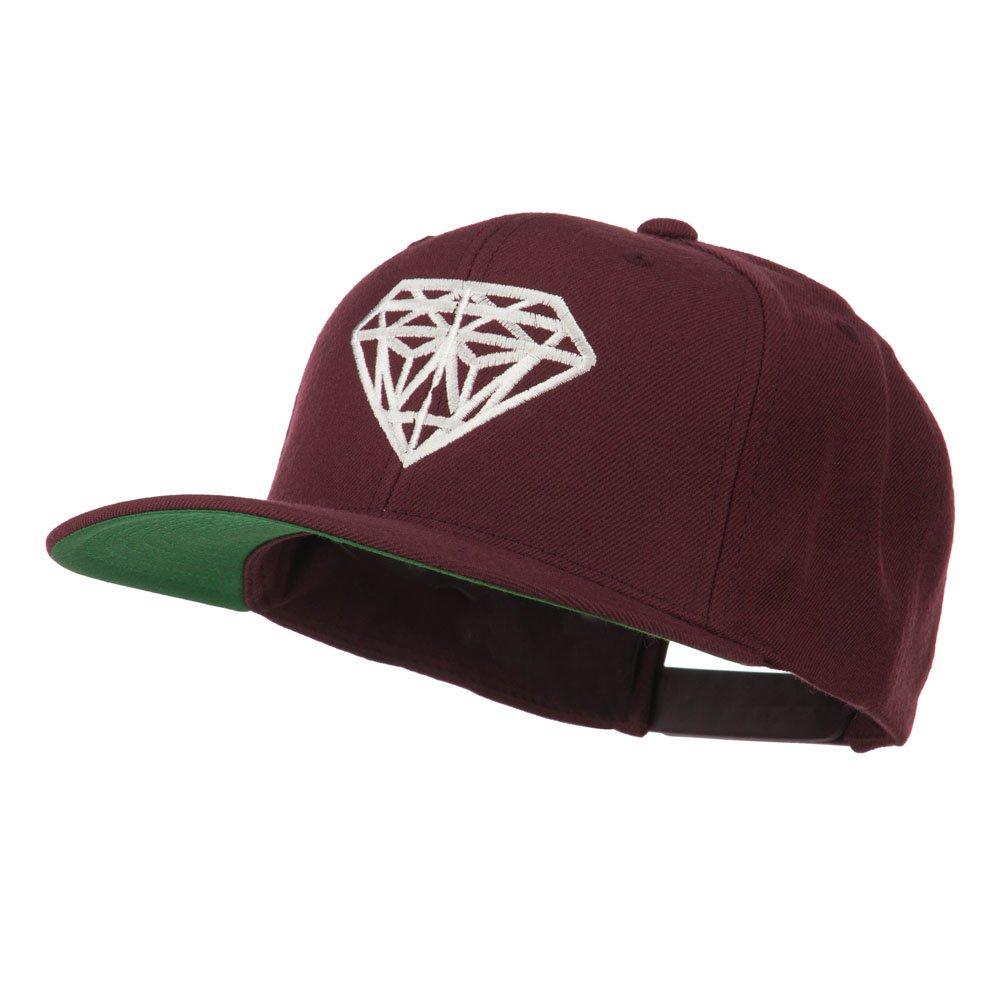 E4hats Big Diamond Embroidered Flat Bill Cap - Maroon OSFM at Amazon Men s  Clothing store  2f346d645d18