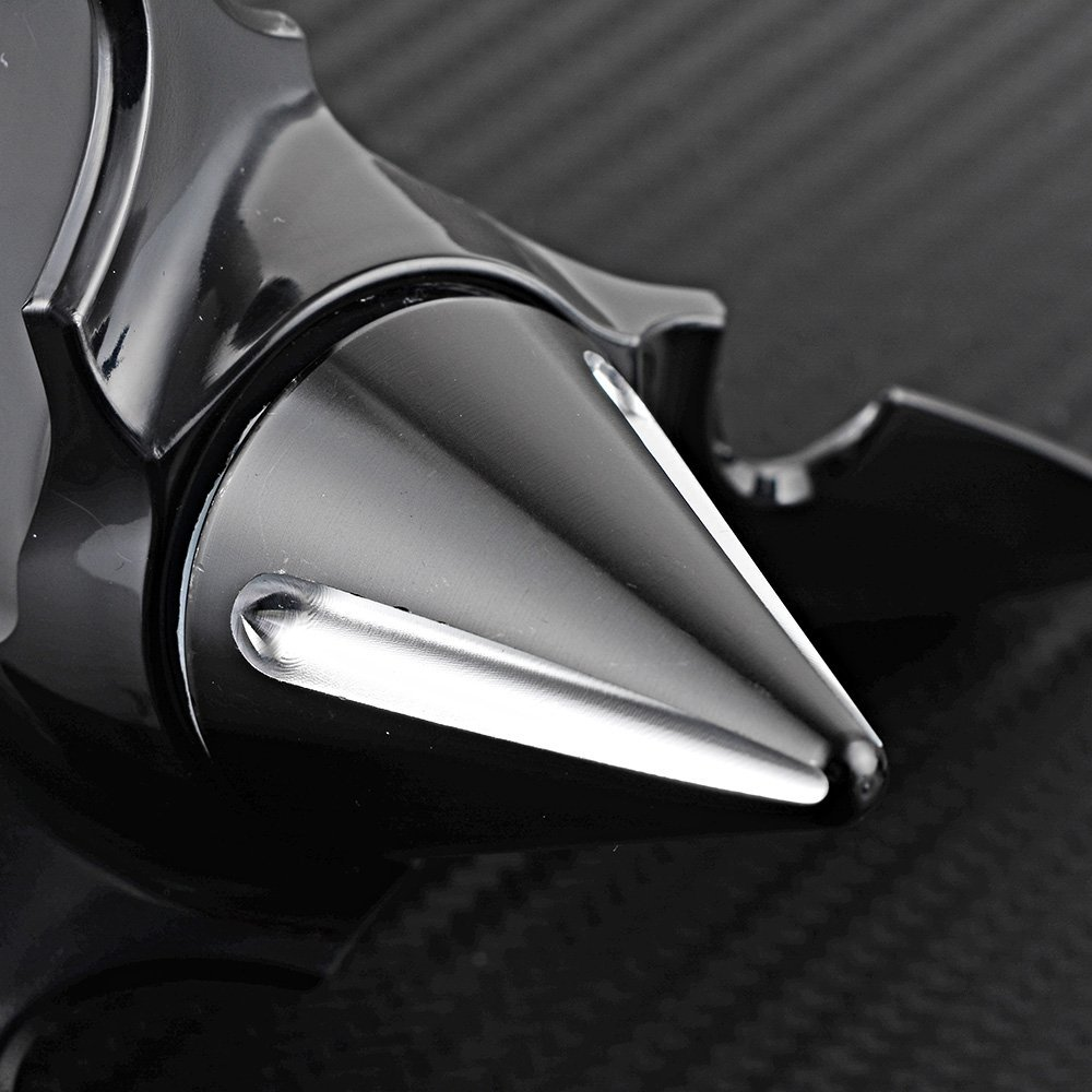 Astra Depot Black Silver Spun Blade Spinning Front Axle Cap Nut Cover Compatible with Harley Dyna Touring XL XG