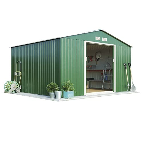 WALTONS EST. 1878 Metal Apex Garden Shed Outdoor Storage 9.1 x 8.4 with Sliding Doors & Ramp (With Foundation Kit, Dark Green)