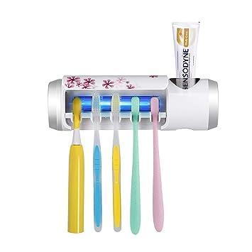 Esterilizador para cepillo de dientes UV con ventilador de secado y soporte de pasta de dientes de tamaño familiar para montar en la pared: Amazon.es: Hogar