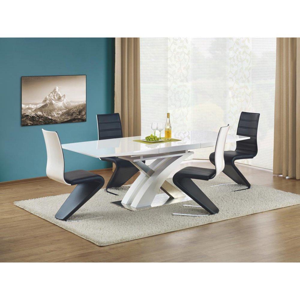 JUSThome Sitzgruppe Essgruppe Esszimmertisch Sandor Weiß Hochglanz + 4 Stühle K194