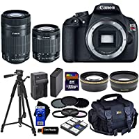 Canon EOS Rebel T5 DSLR Camera with 18-55mm IS II & 55-250mm STM Zoom Lenses (International Version) + Tele & Wide Lenses + ND Filters ND2,ND4,ND8 + 14pc 32GB Deluxe Accessory Kit At A Glance Review Image