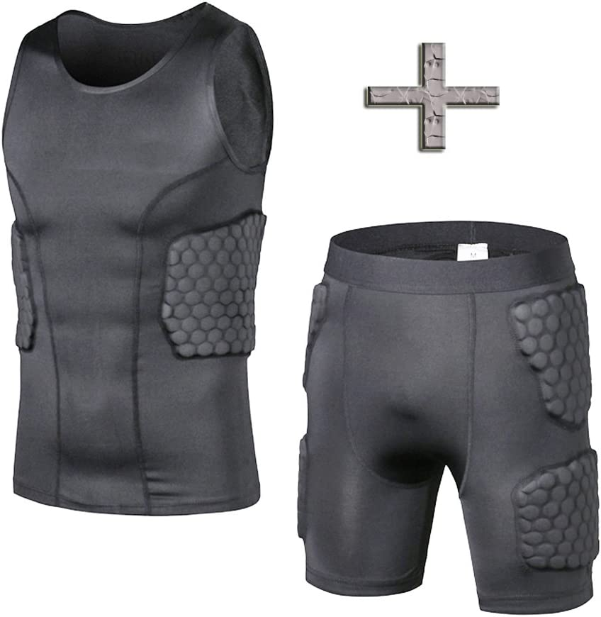 DGXINJUN Men's Padded Compression Shirt Training Vest(3-Pad) Sleeveless T-Shirt and Short Set Ribs, Back, Thighs and Buttocks Elbow Knee Protector - Football Soccer Basketball Hockey Protective Gear : Clothing