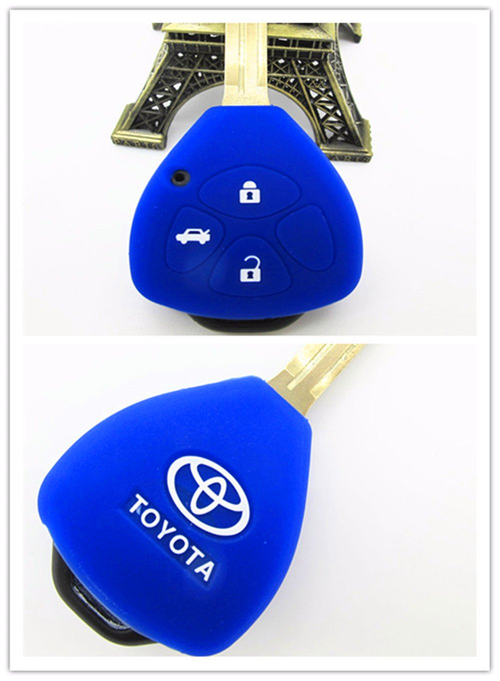 Yellow Hwota 3 Buttons Silicone Remote Car Key Case Cover Shell for Toyota Corolla RAV4 Camry Avalon Matrix Venza Yaris Land Cruiser