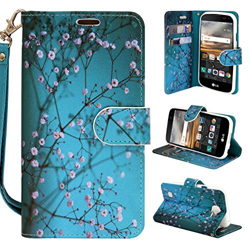 Wallet Case for Lg Optimus G Pro E980 F240k F240s f240l, Customerfirst Pu Leather Wallet Card Flip Open Case Cover Pouch + vent mount (Blossom Green)