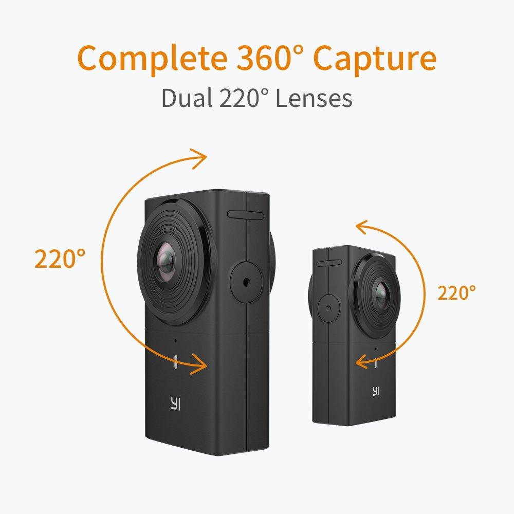 4K en c/ámara Costuras YI 360 VR C/ámara de Doble Lente 5.7K HI Resoluci/ón C/ámara panor/ámica con estabilizaci/ón de Imagen electr/ónica