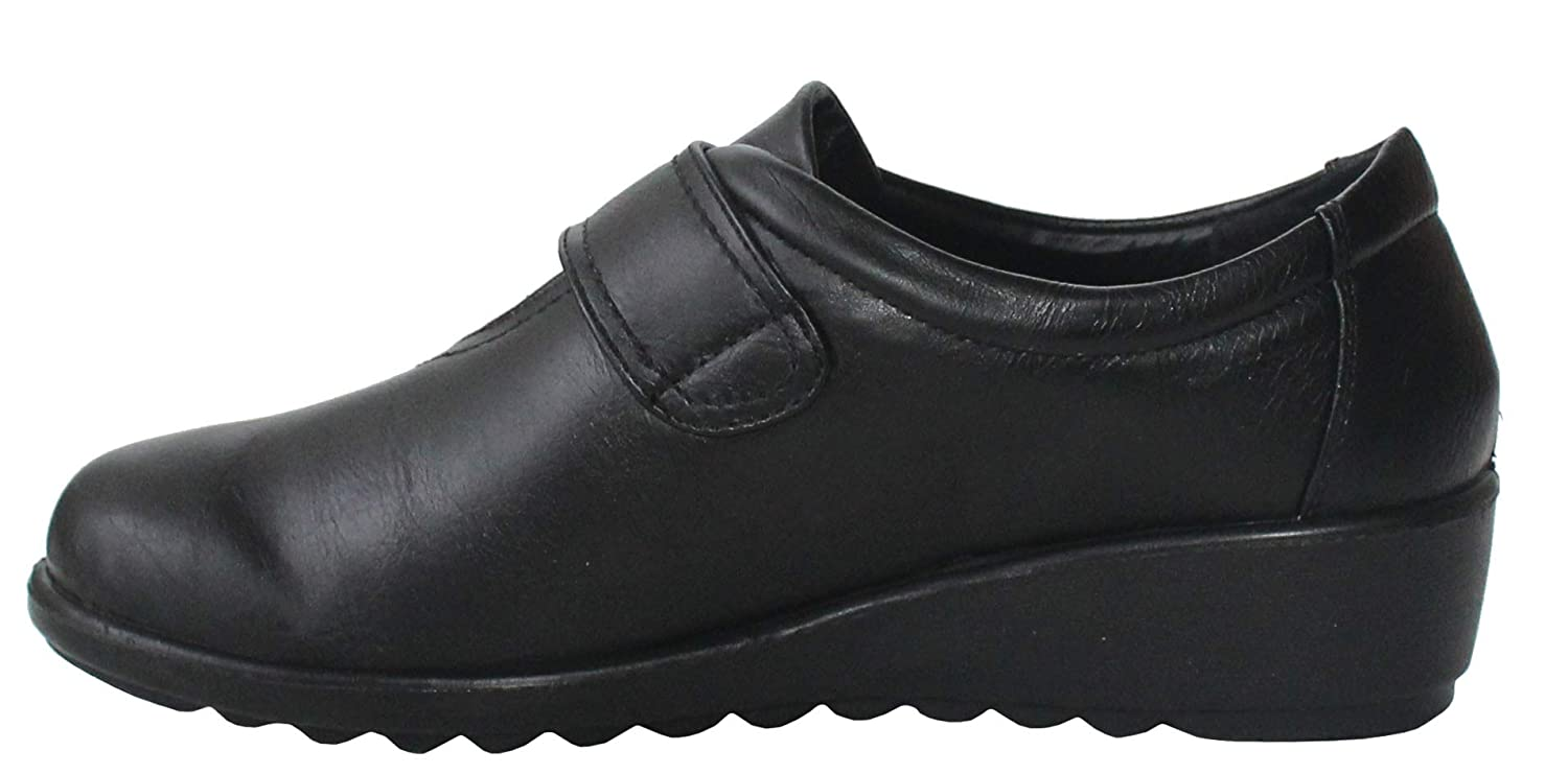 Cushion Walk Womens Ladies Black Touch Fasten Flats Loafers Shoes UK 3-8