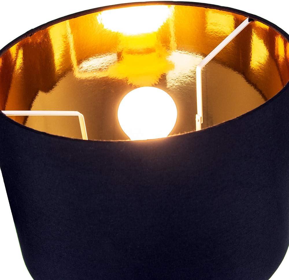 Inline Switch by Happy Homewares Modern Matt Black Tripod Table Lamp with 12 Shade with Shiny Golden Inner 60watt Maximum