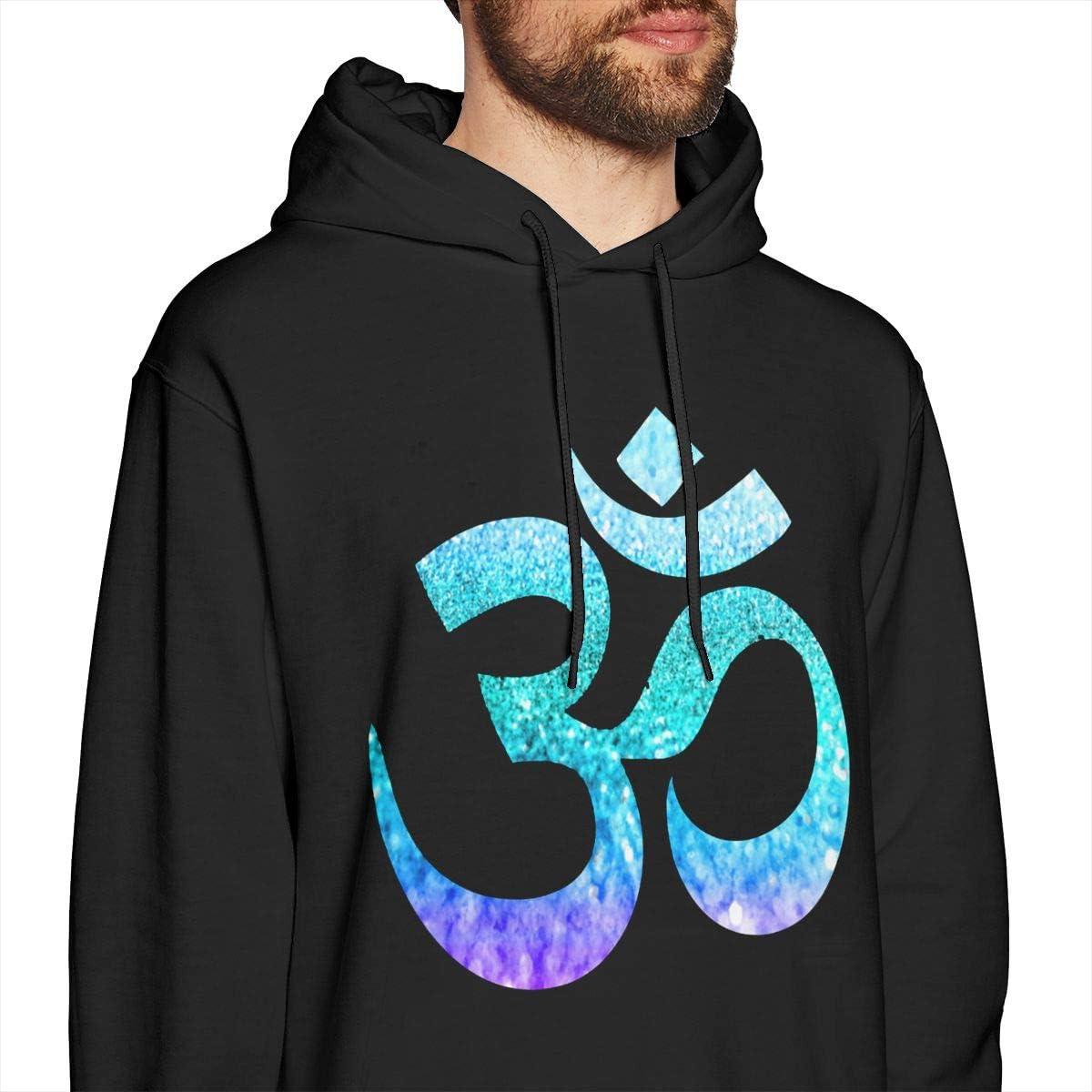 Om Sign Symbol Lotus Mens Pullover Hoodies Casual Hooded Sweatshirt
