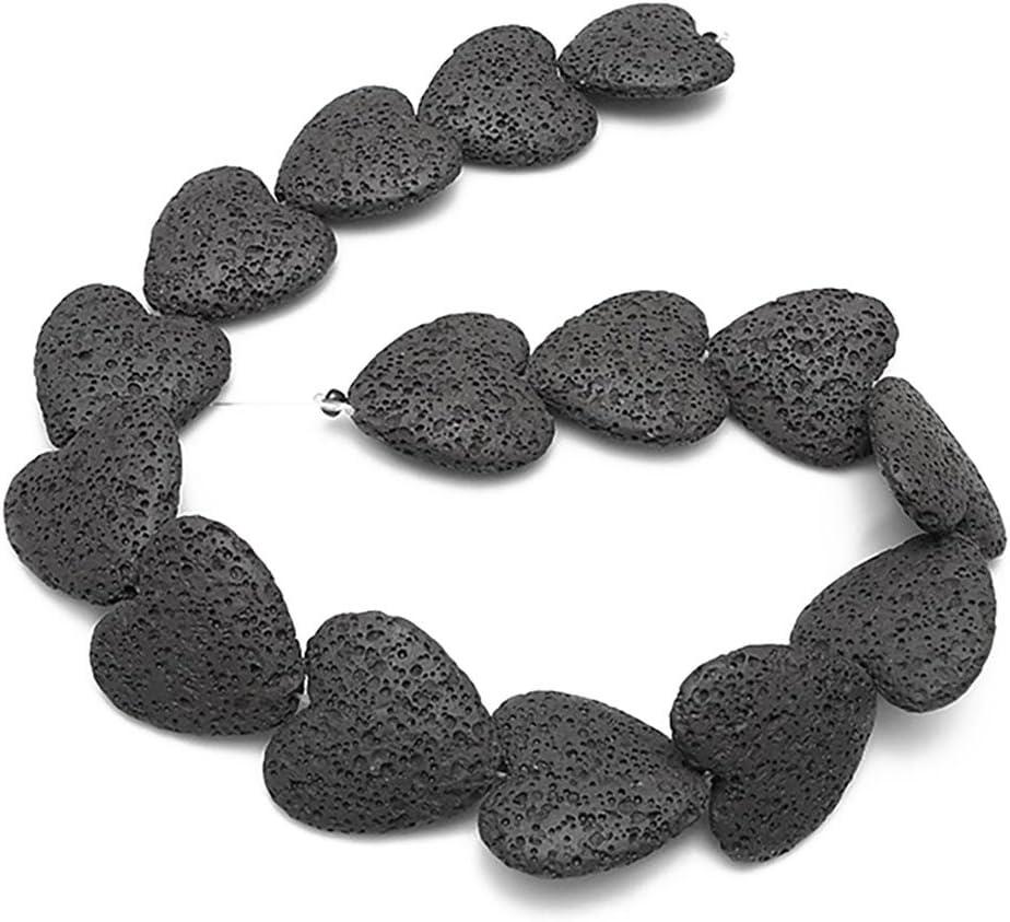 Cuentas sueltas de piedra volcánica de colores en forma de corazón, cuentas de rocas, piedras preciosas volcánicas para pendientes, pulseras, collares, joyería