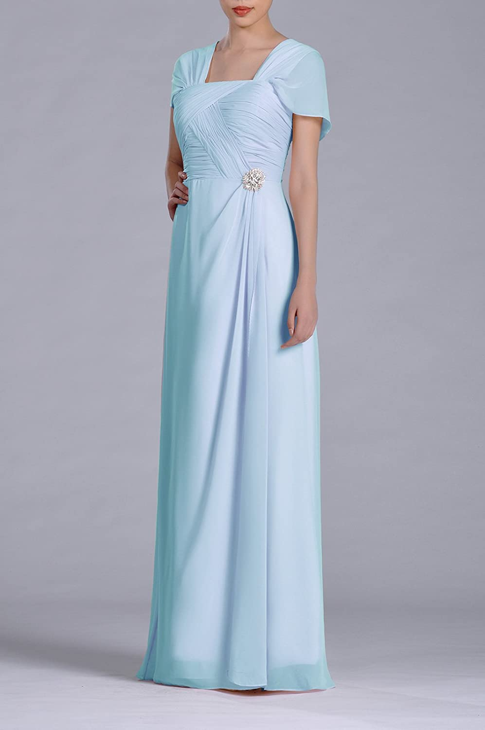 Amazon.com: Formal Pleated Chiffon Bateau Sleeveless Sheath Long ...