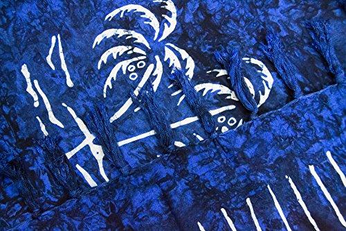 manumar Mujer sarong | pareo Toalla de playa | ligero de wickel–Toalla con flecos borlas Dunkel-azul Palme mediano
