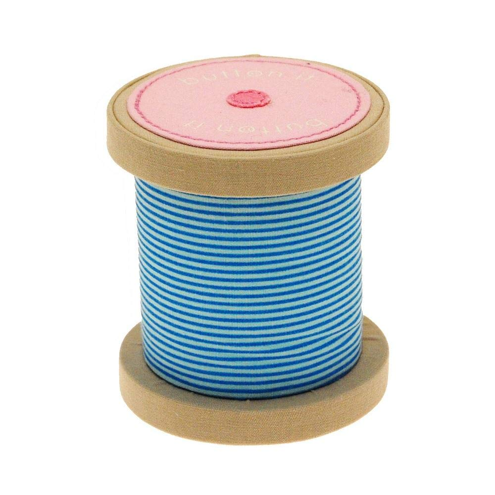 BUTTON IT- NEW FOR 2014 – Cute As A Button Blue Striped Novelty Bobbin Pin Cushion. Carters of London