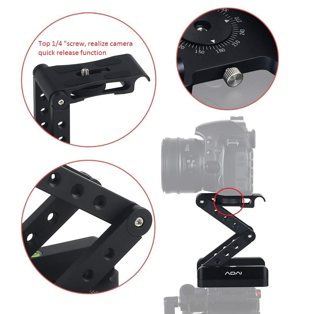 360°Rotating Folding Z Flex Tilt Head Tripod Head Aluminum Alloy Folding Camera Bracket with Quick Release Plate Stand Holder Compatible with DSLR Camera Canon Nikon Sony Pentax by ADAI (Image #4)