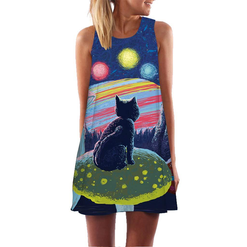 Women Summer Vintage Dress Sleeveless 3D Flavor Vintage Beachwear Sundress Print Bohe Tank Short Mini Dress Size S-2XL (S=US:4-6, Multicolor)