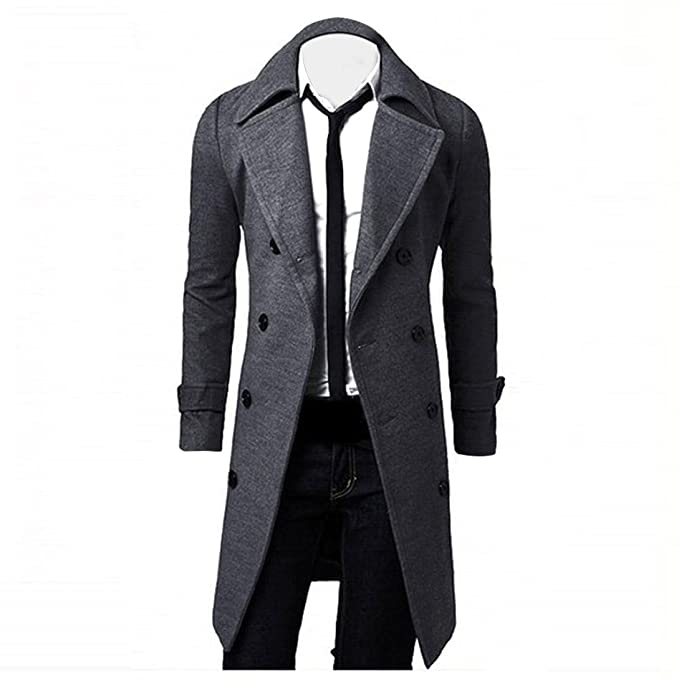 Kolylong® Mantel Herren Herren Vintage Lang Wollmantel Slim Fit Trenchcoat Männer Wolljacke Windbreaker Business Parka Outwea