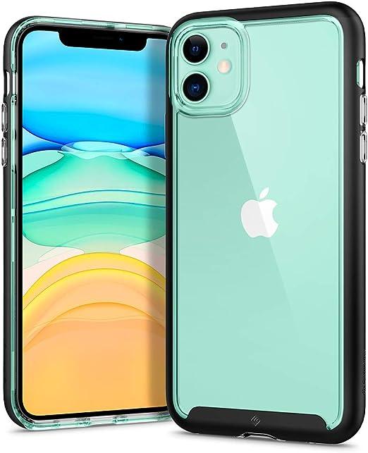 Caseology Skyfall, Coque iPhone 11 Transparent, Bumper Noir, Coque Hybride, Compatible avec iPhone 11 (Matte Black)