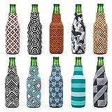 Avery Barn 10pc Mixed Trendy Design Neoprene Zipper Sleeve Insulated Beer Bottle Covers - Set 3: Patternpalooza offers