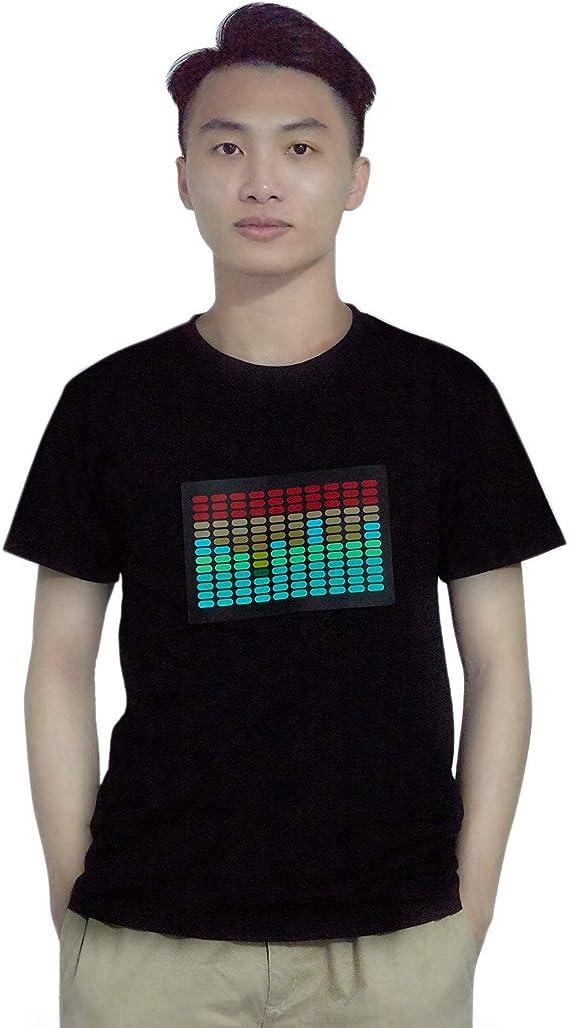 WOVELOT Camiseta Led Activido de Sonido para Hombre Ecualizador de Disco Rock Iluminar Brillante Camiseta Led de Manga Corta XXL: Amazon.es: Ropa y accesorios