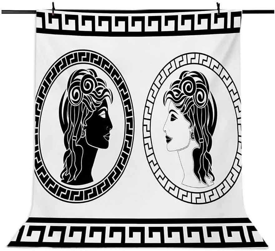 Toga Party 10x15 FT Backdrop Photographers,Roman Aristocrat Woman Profiles Circular Classical Frames Hairstyle Beauty Background for Photography Kids Adult Photo Booth Video Shoot Vinyl Studio Props