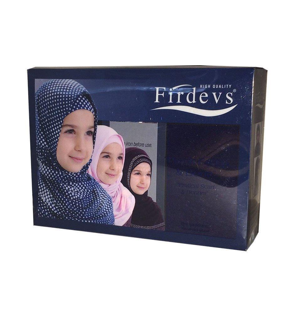 Firdevs Islamic Girl Child Practical Amira Hijab Two Piece Muslim Scarf & Bonnet - Instant Easy Hijab (Navy Blue) by Modefa