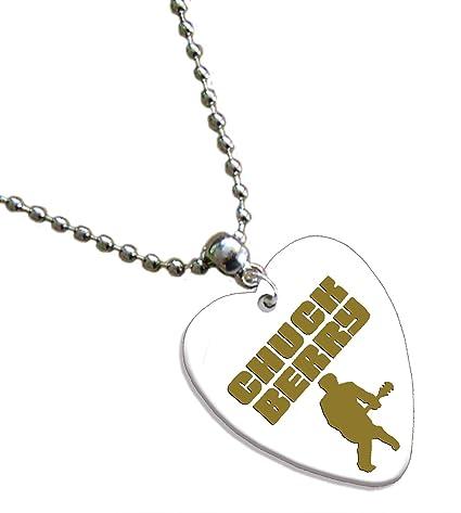 Amazon.com: Chuck Berry Lámina de oro blanco impreso collar ...