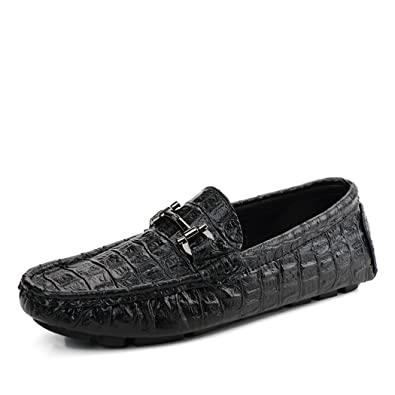 Men's Loafers Casual Slip Ons Driving Office Work School Shoes Soft Cow Leather Flats Black US9.5