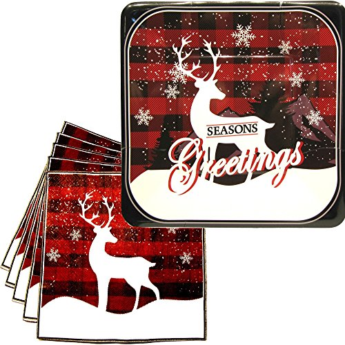 Vintage Reindeer Holiday Party Plates and Napkins - Chic Classic Reindeer Holiday Party Supplies Pack - Serves 16 - Seasons Greeting Decorations ()