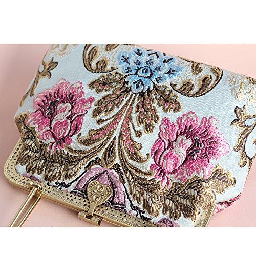 Jacquard Lady Satchel Bag Style Banquet Handbag Hkaifg Shoulder RtnWx6