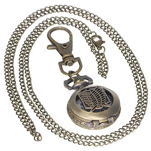 Attack on Titan Recon Corps Skeleton Watches Bronze Vintage Brass Antique Case Pocket Watch 1 PC Necklace 1 PC Key Clip Quartz Pendant Watch Fob Nurse Watch]()