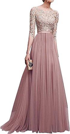 Abiti Da Sera Amazon.Donna Chiffon Vestito Lungo Abito Da Cerimonia Elegante Vestiti Da
