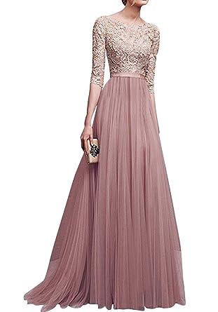 Damen Elegant Chiffon Lang Kleid Abendkleider Partykleider ...