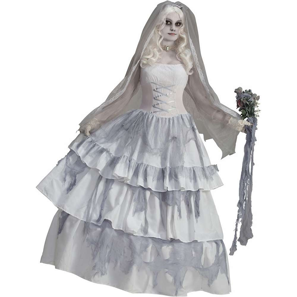 Make an Easy Victorian Costume Dress with a Skirt and Blouse Victorian Ghost Bride Adult Costume - Standard $92.18 AT vintagedancer.com