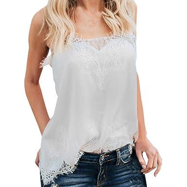 Camiseta de la Ropa Tops para Mujer,riou Panel de Encaje de Mujer Camisola Sling
