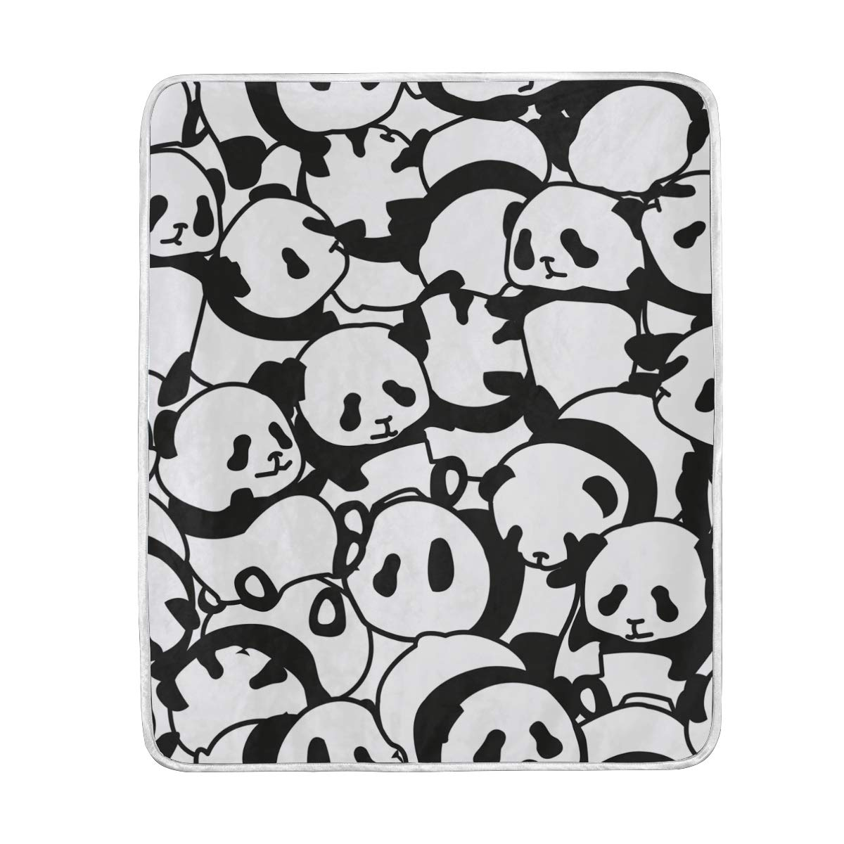 ALAZA Seasonal Quilt Cartoon Black and White Panda Crystal Velvet Throw Blanket for Bed 50 x 60 inch Kids Baby Girls Colorful Painting Couch Blanket Throw Decor