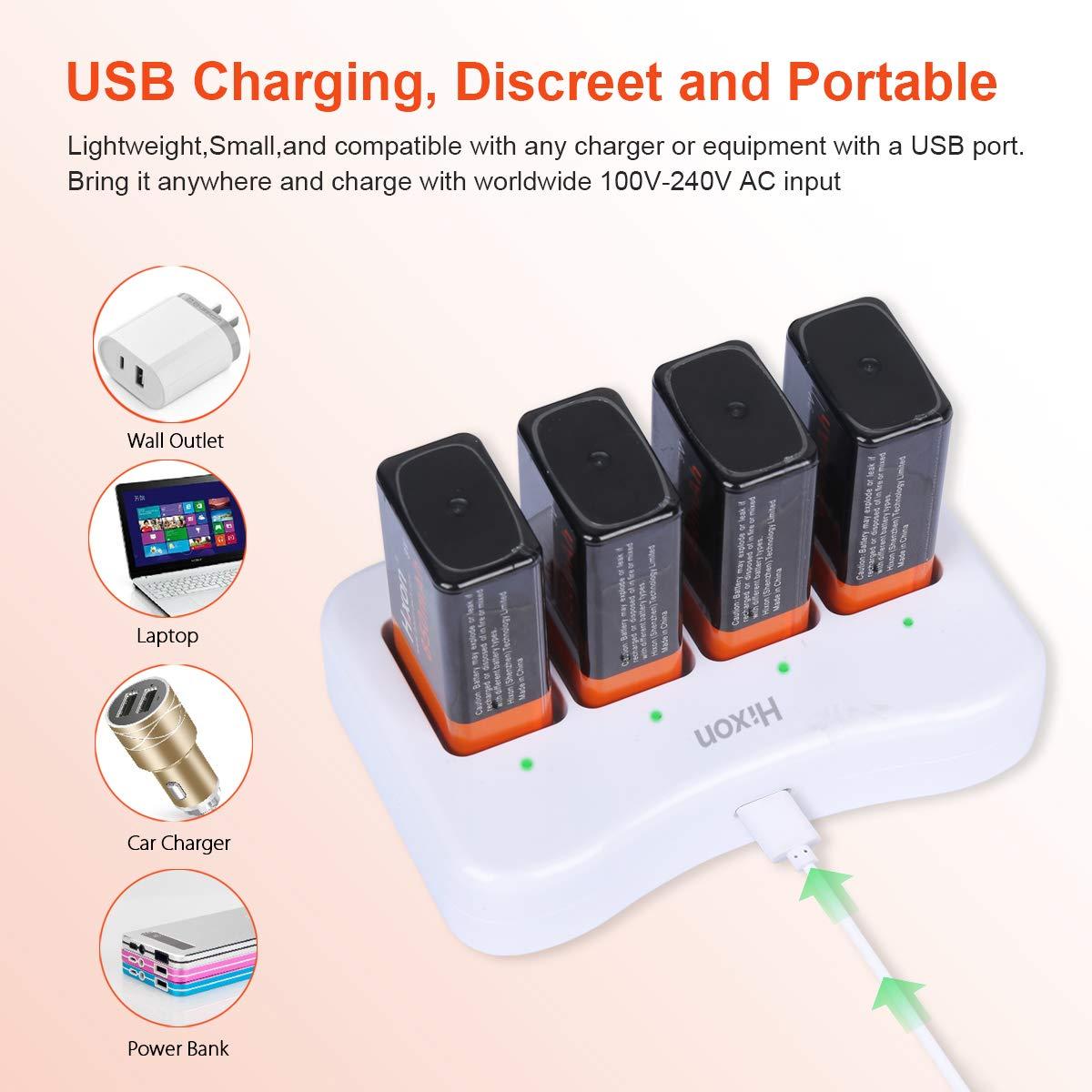 Hixon Caricabatterie per Batteria 9V 4-Slot Caricabatterie Rapido con Indicatore LED e Porta di Ricarica Tipo C