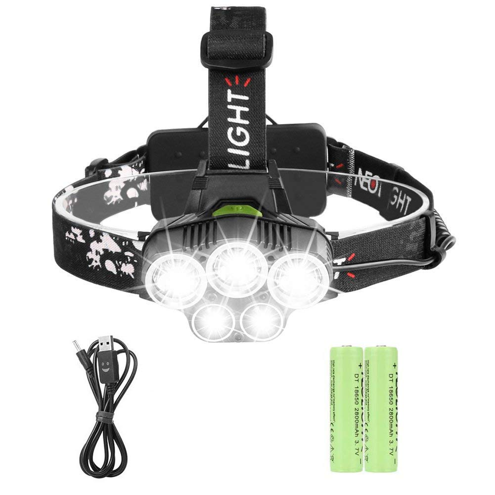 Rechargeable Headlamp, Super Bright 6000 Lumen, 6 Modes LED Headlight, Waterproof, Portable Hardhat Head Lamp, for Cycling, Running, Dog Walking, Camping, Hiking,Fishing, Night Reading and DIY Works