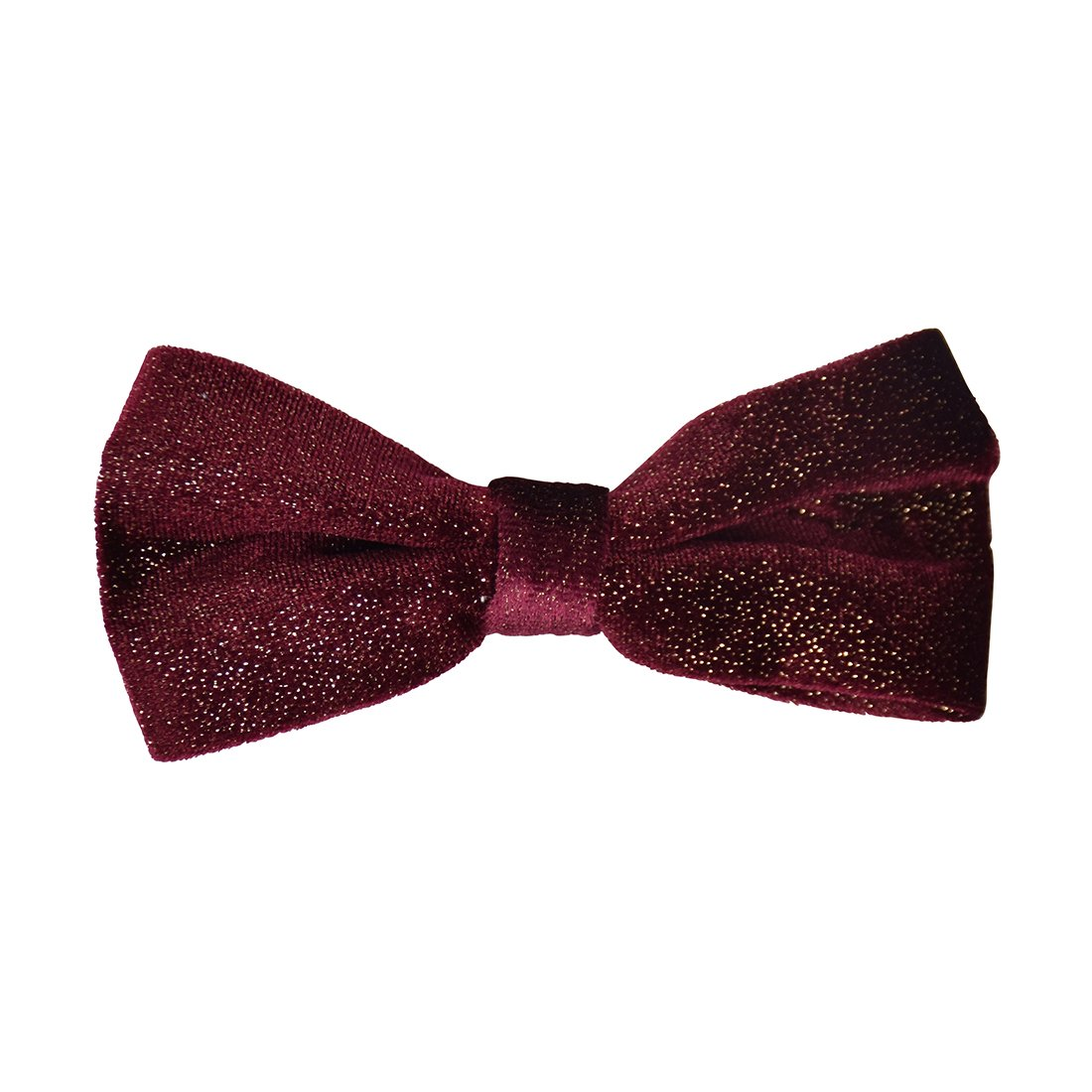 Pre-tied Bowtie for Boys Clip-on Metallic Velvet-Burgundy
